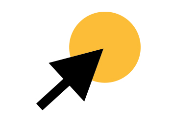Large dark gray mouse arrow icon pointing to the center of a large orange circle. This icon represents online ticket purchase.
